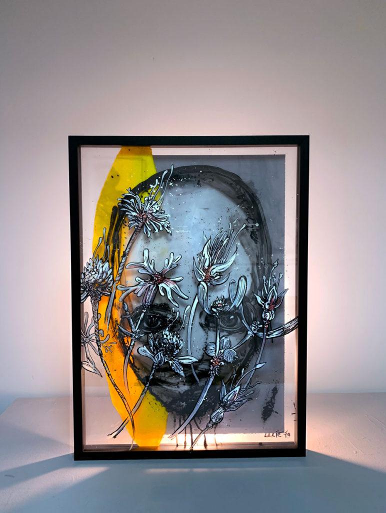 """Slika """"Lice u cveću"""" autora Vladimira Lalića, Muzej grada Beograda"""