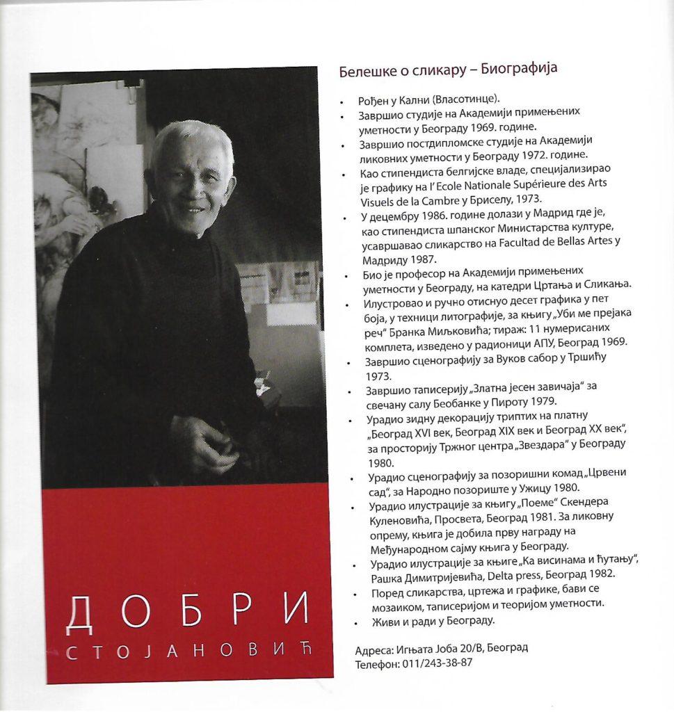 Biografija slikara Dobrog Stojanovića, Izložba. Narodni muzej Vranje, Manifestacija Muzeji za 10 2021. godine