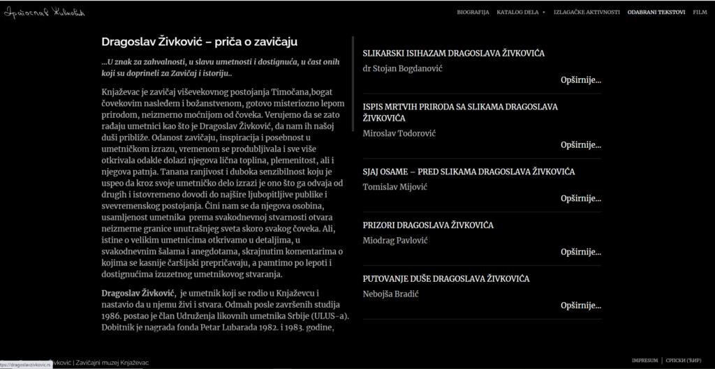 """Detalji sa sajta, Dragoslav Živković, Zavičajni muzej Knjaževac, Manifestacija """"Muzeji za 10"""" 2021. godine"""