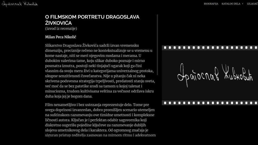 """Detalji sa veb stranice,  Dragoslav Živković, Zavičajni muzej Knjaževac, Manifestacija """"Muzeji za 10"""" 2021. godine"""