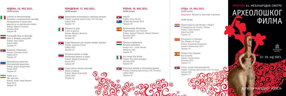 Planirani program 21. Međunarodne smotre arheološkog filma, Manifestacija Muzeji za 10, Narodni muzej u Beogradu